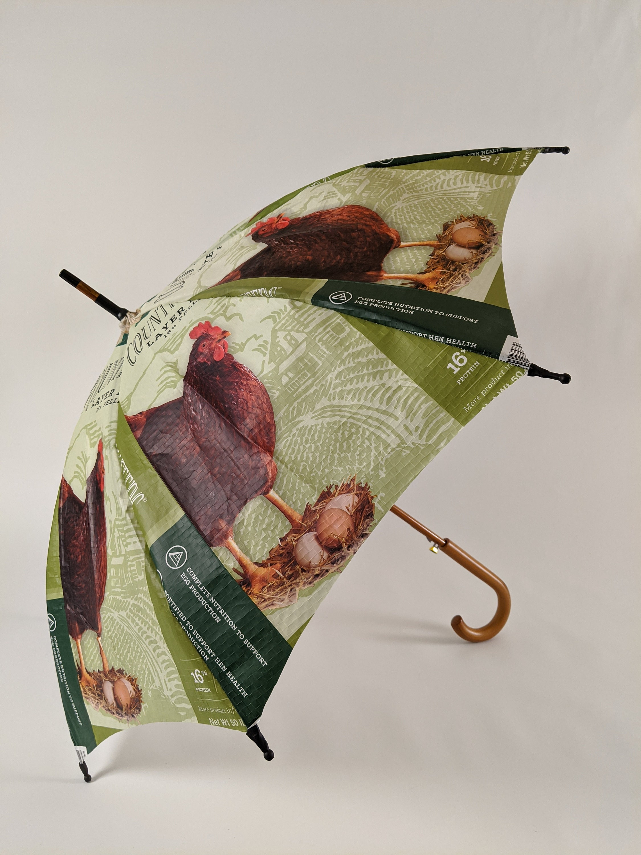 Chicken Grain Bag Umbrellas Recycle Reuse Non Profit