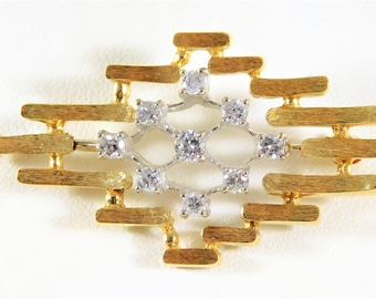 Vintage 14k Gold and Diamond Brooch