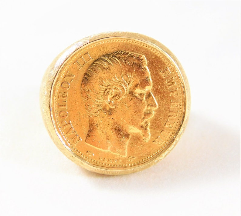 Unisex 1856 20 Francs Gold Coin on 14 kt  Yellow Gold Ring