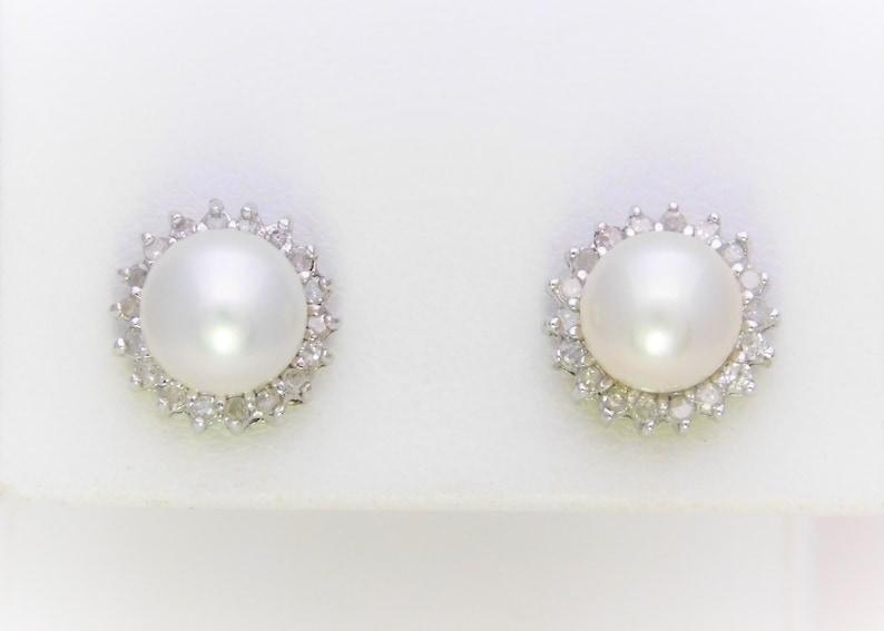 780282e9ca9bb 14k White Gold Pearl and Diamond Halo Stud Earrings