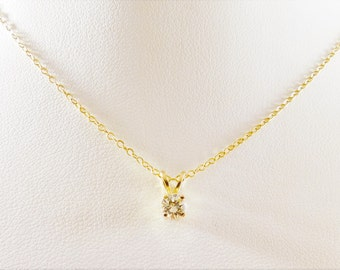 14k Gold Diamond Solitaire Necklace