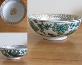 Vintage Japanese Gold Imari Peacock and Floral Bowl. Hand Painted. 1950s. Arita Bussan. Hard to Find. Large 7 1 4 quot Size.