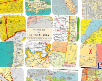 Vintage map Ephemera Pack Squares  Atlas  Road Maps International US Street Maps