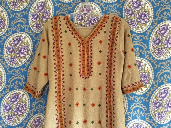 Beige Indian Tunic Dress with Floral Embroidery