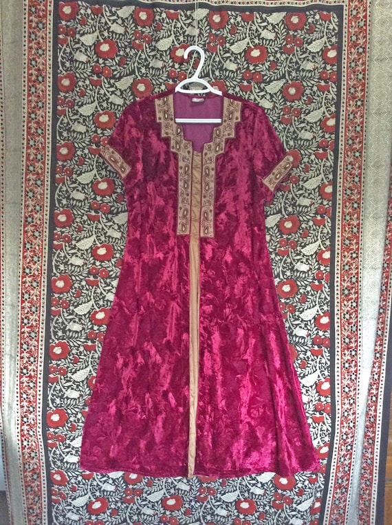 Red Velvet Indian Tunic Dress with Gold Embroidery