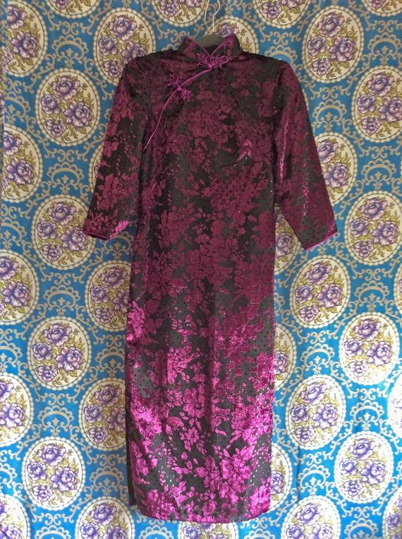 Purple Burnout Velvet Mandarin Collar Dress