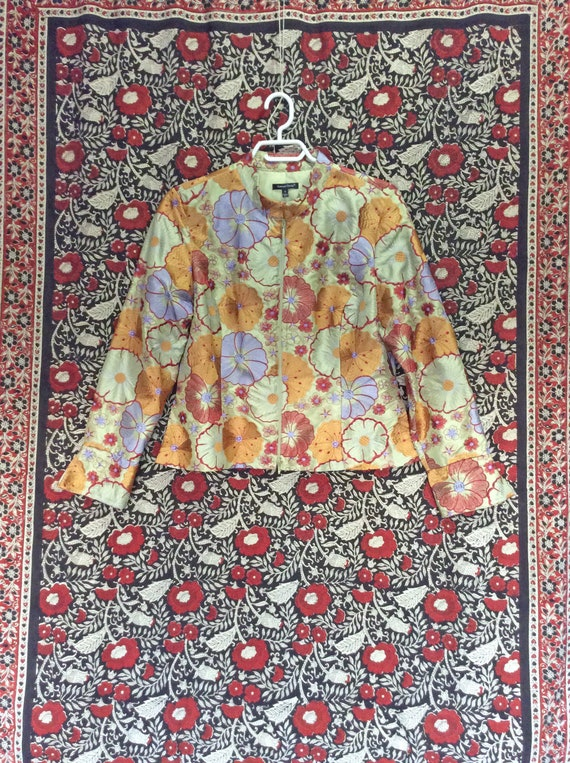 Silk Floral Embroidered Jacket