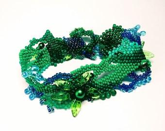 Green and Blue Beaded Leaf Bracelet