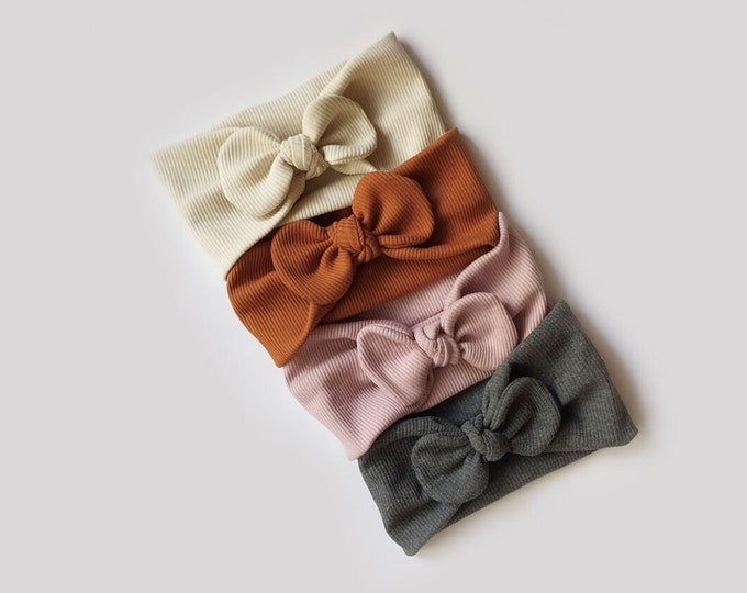 Pack of 4 headbands autumn winter, Isa,Mariam, Valeria, Luisa, cognac, old pink, dark grey, natural beige