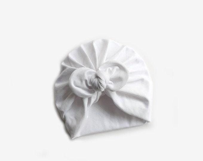 Inés Turban, New, Bow Turban, White, New  Born  bow turban, turban, Bow Headband Hat