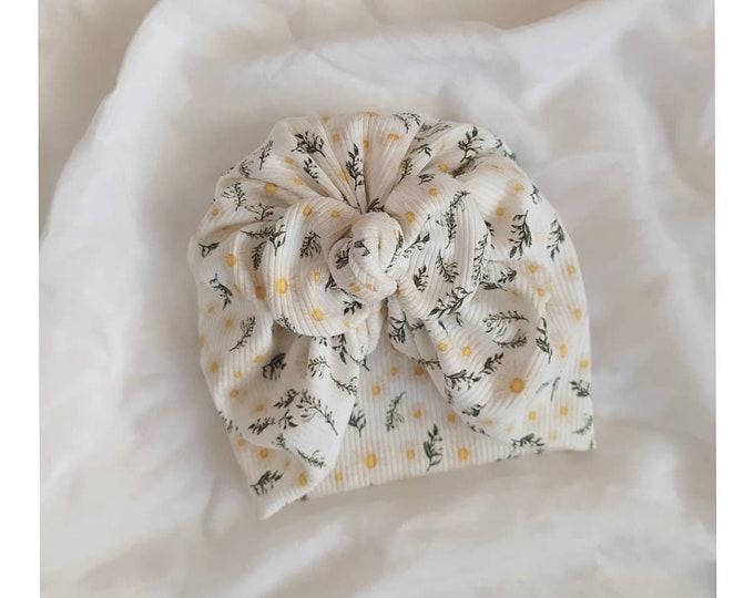 Brisa Turban, daisy flower, Cotton Turban, New, Bow Turban,  New  Born  bow turban, turban, Bow Headband Hat
