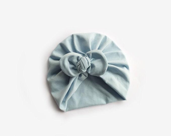 Celia Turban, , Cotton  Turban , Ligth Blue,  New  Born bow turban, turban, Bow Headband Hat
