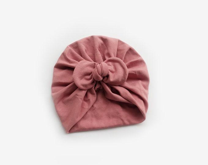 Abril Turban, Pink , Cotton Turban, New, Bow Turban,  New  Born  bow turban, turban, Bow Headband Hat