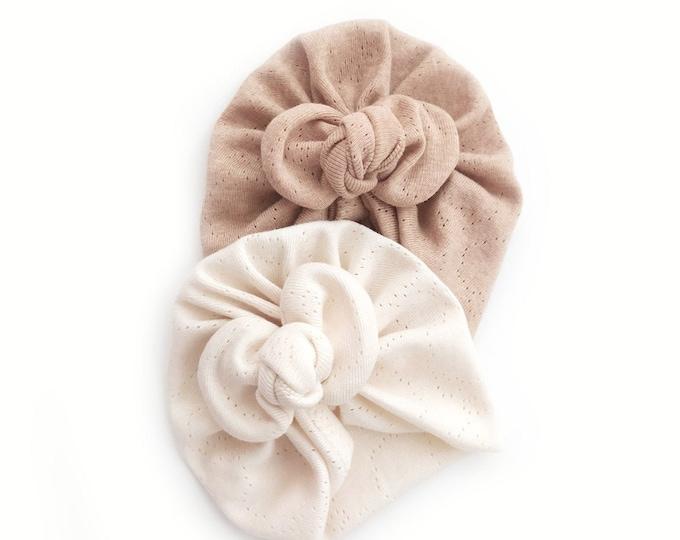 Pack of two Organic Cotton Pack ,Organic cotton, Bow Turban,  New  Born,  bow turban, turban, Bow Headband Hat, baby turban, turban bébé,