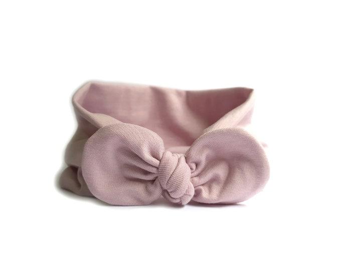 Lili Headband, Bow headwrap, Baby Pink, New  Born  bow turban, turban, Bow Headband Hat