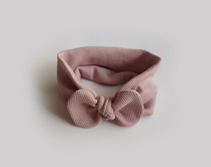 Isa headband, Autumn, Winter, Bow Turban, baby bow turban, turban, Bow Headband Hat, baby turban, Newborn, toddler turban, Old Pink headband