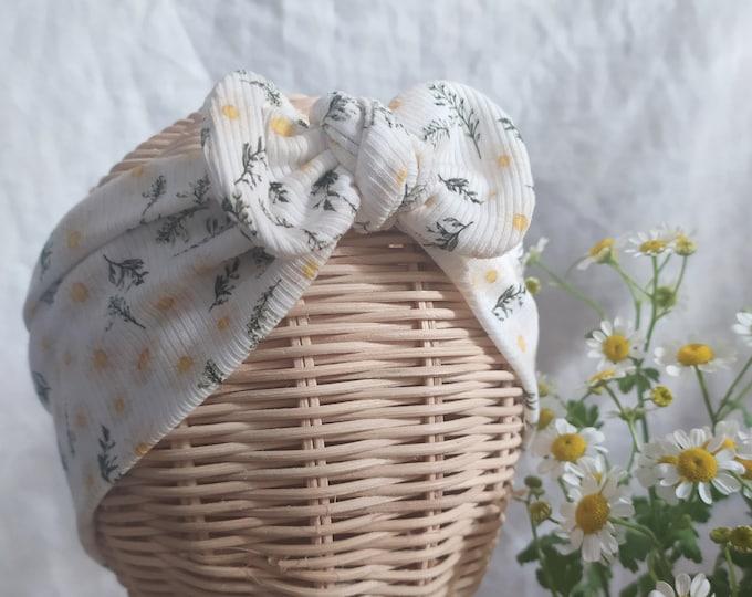 Brisa headband, daisy flower, Cotton headband, New, Bow headwrap,  New  Born  bow turban, turban, Bow Headband