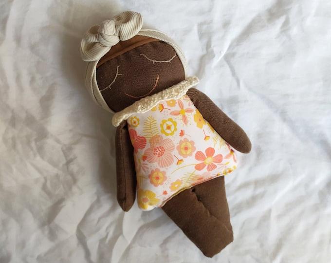 Mini Miranda, Doll, Fabric Doll, Soft homemade toys, Nursery Decor, Handmade Doll