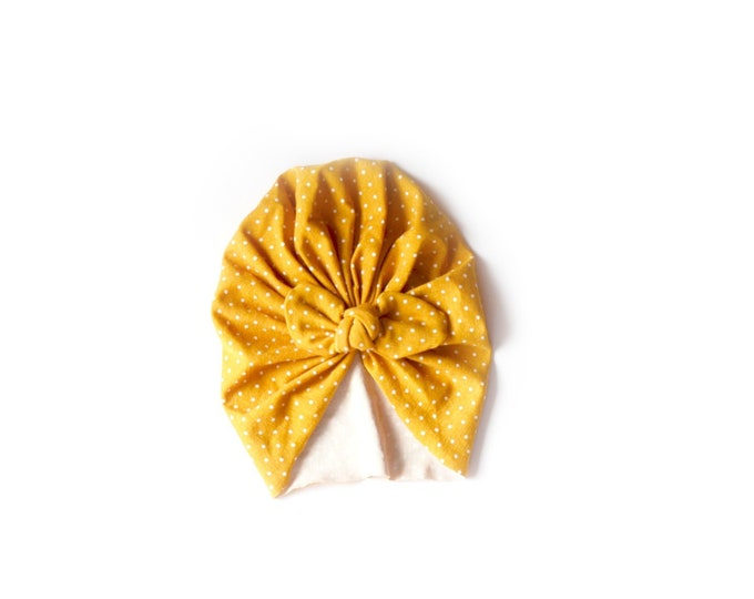NEW- Bow Turban- baby bow turban- turban- Bow Headband Hat- baby turban- Newborn hat -toddler turban -mustard - turban bébé