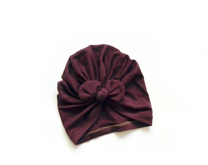 NEW,Bow Turban, baby bow turban, turban, Bow Headband Hat, baby turban, Newborn hat, toddler turban, Wine turban, turban bébé