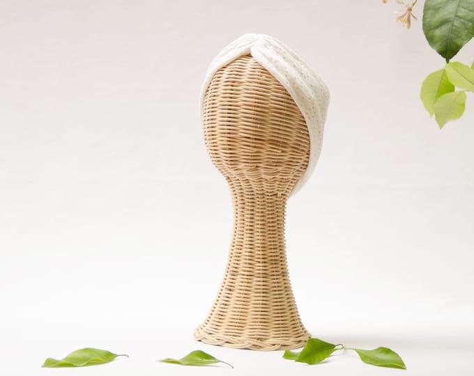 Mummy Gemma Headband, Bow headwrap, white, New  Born  bow turban, turban, Bow Headband Hat