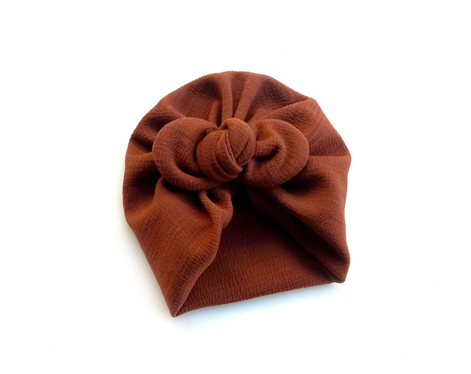 NEW- Bow Turban- baby bow turban- turban- Bow Headband Hat- baby turban- Newborn hat -toddler turban -Brown turban - turban bébé