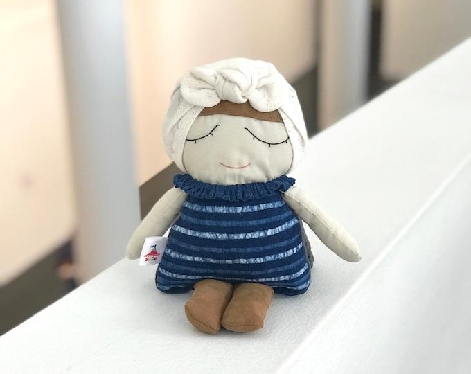 Doll, Fabric Doll, Soft homemade toys, Girl Nursery, Indigo, Nursery Decor, Handmade Doll, Cloth Doll, Mini Miranda, Batik, hand dyed doll
