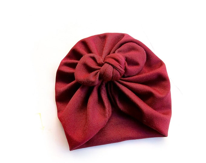 Winter turban, Bow Turban, baby bow turban, turban, Bow Headband Hat, baby turban, Newborn hat, toddler turban, Granate