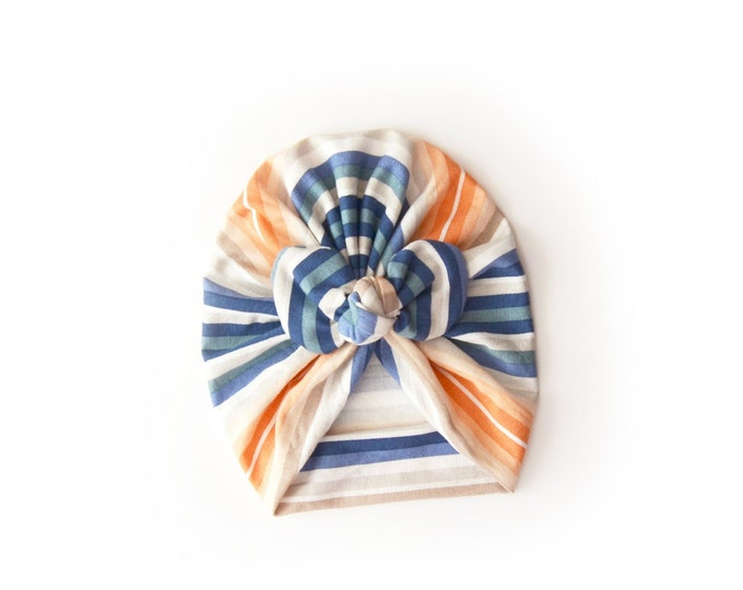 Bow Turban, baby bow turban, turban, Bow Headband Hat, baby turban, Newborn hat, toddler turban, striped turban