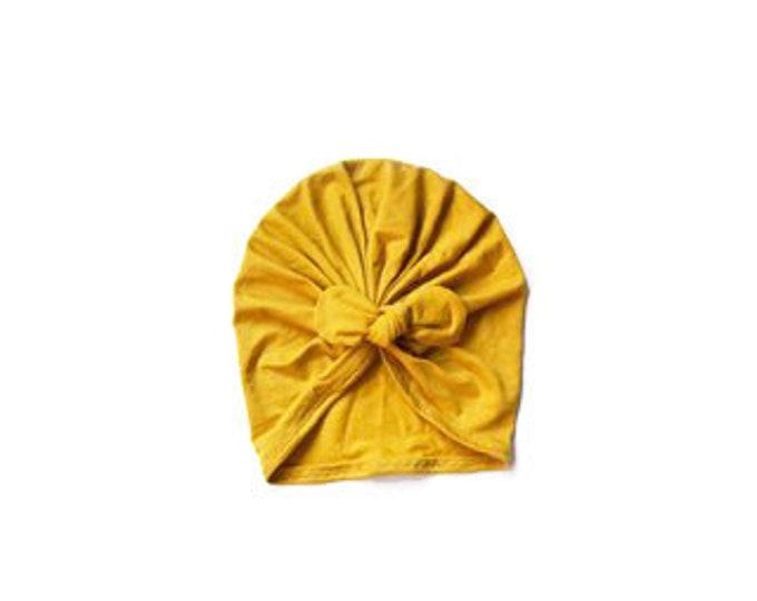 New, Bow Turban, baby bow turban, turban, Bow Headband Hat, baby turban, Newborn hat, toddler turban, mustard
