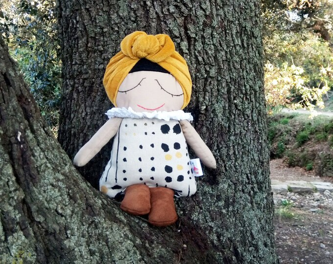 Doll, Fabric Doll, Soft homemade toys, Girl Nursery, Rag Doll, Nursery Decor, Handmade Doll, Cloth Doll, Mini Miranda