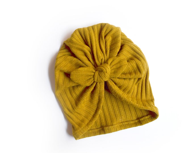 Winter Turban, Bow Turban, baby bow turban, turban, Bow Headband Hat, baby turban, Newborn hat, toddler turban, Mustard