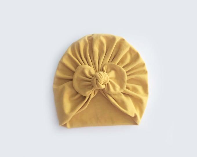 Mara Turban, New, Bow Turban, Yellow, New  Born  bow turban, turban, Bow Headband Hat