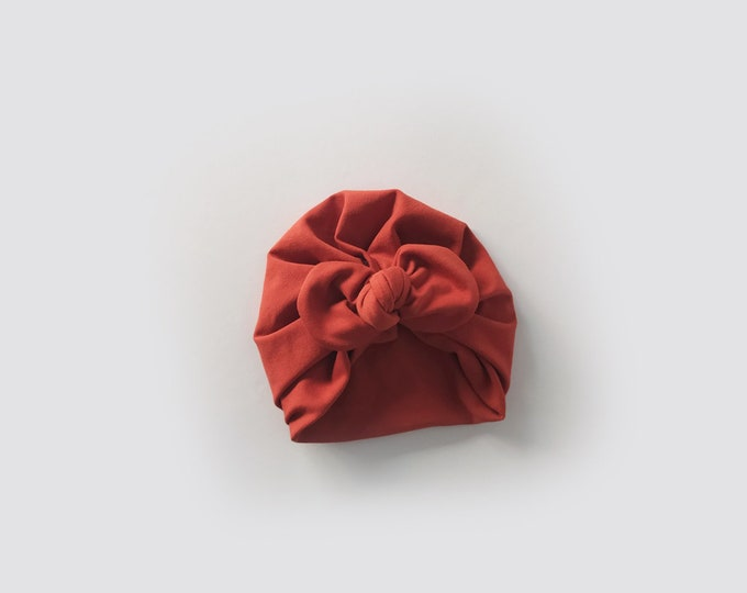 New Collection, Brick red , Cotton Turban, New, Bow Turban,  New  Born  bow turban, turban, Bow Headband Hat, mommy and me