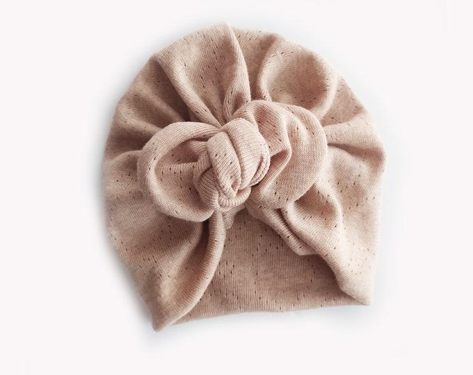 Adriana, Organic cotton, BIO, Bow Turban,  New  Born  bow turban, turban, Bow Headband Hat, baby turban, Newborn hat, turban bébé, Brown