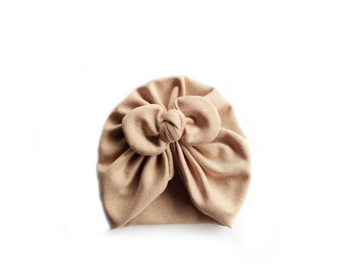 NEW, Organic cotton, BIO, New, Bow Turban,  New  Born  bow turban, turban, Bow Headband Hat, baby turban, Newborn hat, turban bébé, Brown
