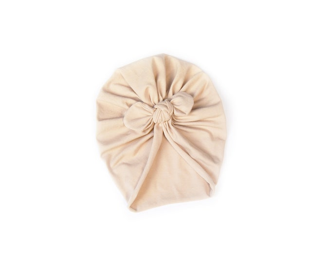 Bow Turban, baby bow turban, turban, Bow Headband Hat, baby turban, Newborn hat, toddler turban, Beige Turban