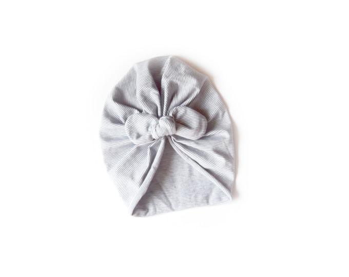 NEW- Bow Turban- baby bow turban- turban- Bow Headband Hat- baby turban- Newborn hat -toddler turban - Gray - turban bébé