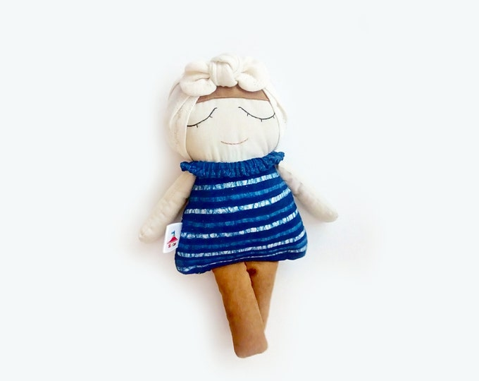 Doll, Fabric Doll, Soft homemade toys, Girl Nursery, Indigo, Nursery Decor, Handmade Doll, Cloth Doll, Mini Miranda, Batik, hand dyed doll