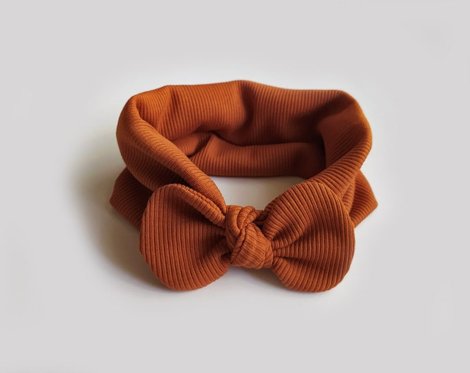 Valeria headband, Autumn, Winter, Bow headband, turban, Bow Headband Hat, baby turban, headband, Cognac headband, cognac