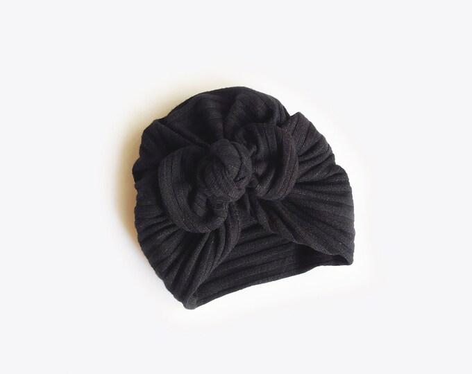 Ann, Autumn, Winter Turban, Bow Turban, baby bow turban, turban, Bow Headband Hat, baby turban, Newborn hat, toddler turban, black