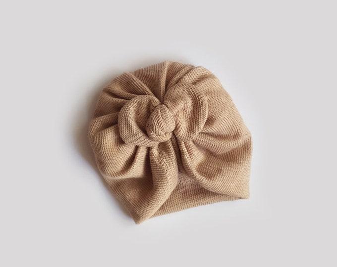 Clara, Autumn, Winter Turban, Bow Turban, baby bow turban, turban, baby turban, Newborn hat, toddler turban, tricot, Natural Brown