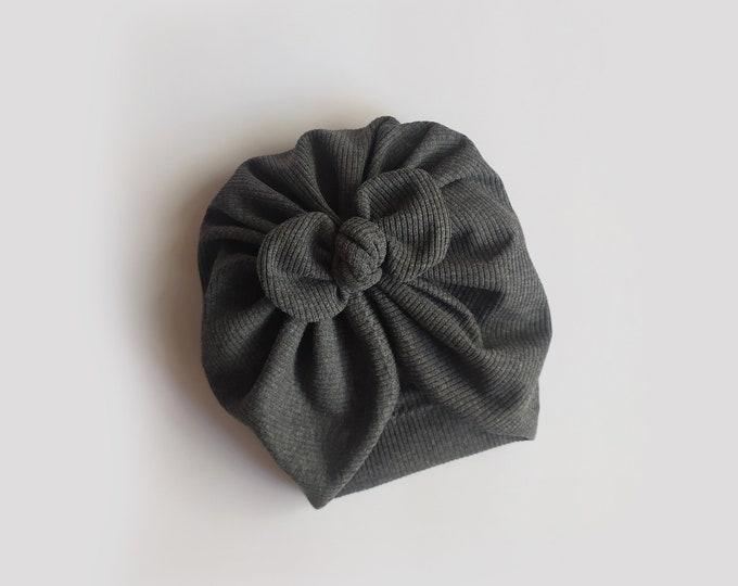 Mariam, Autumn, Winter Turban, Bow Turban, baby bow turban, turban, Bow Headband Hat, baby turban, Newborn hat, toddler turban, Grey turban
