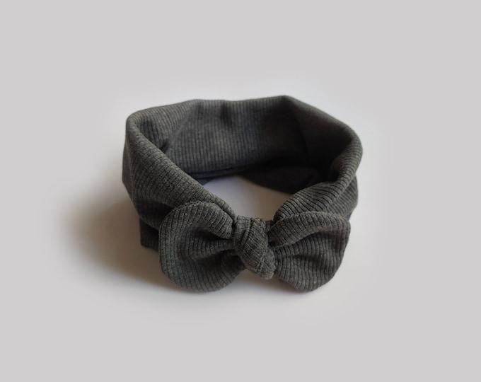 Mariam headband, AuAutumn, Winter, Bow headband, turban, Bow Headband Hat, baby turban, headband, Grey Melange