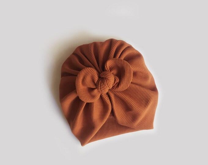 Valeria, Autumn, Winter Turban, Bow Turban, baby bow turban, Bow Headband Hat, baby turban, Newborn hat, toddler turban, Cognac turban