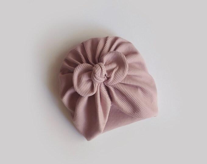 Isa, Autumn, Winter Turban, Bow Turban, baby bow turban, turban, Bow Headband Hat, baby turban, Newborn hat, toddler turban, Old Pink turban
