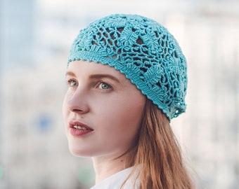 Lacy Crochet French Beret - Summer Women's Beret Hat - Cotton Crochet Beret - Flower Vintage Turquoise Beanie - ItWasYarn Spring Boho Hat