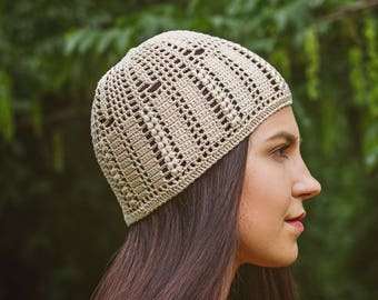 Crocheted Cap Hat For Sunny And Windy Weather - Beige Womens Crochet Beanie - 100 % Cotton Summer Hat - Yarn Wild Wheat Bouquet Beanie Hat