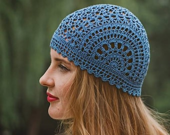 f7bb590ba51 Lace Blue Crochet Women s Hat - Summer Cotton Beanie