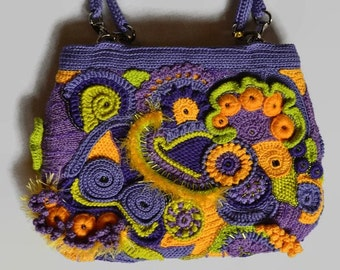 Floral Beaded Purse PRIMROSES - Unique Gift For Girlfriend Wife - Fashion Romantic Crochet Yarn Free-form Women's Purple Handbag